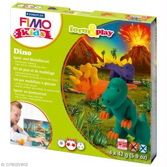 Kit pâte Fimo Kids garçon - Dinosaures - niveau moyen