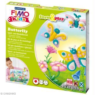 Kit pâte Fimo Kids fille - Papillons - niveau facile