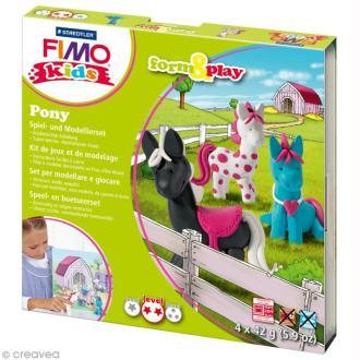 Kit pâte Fimo Kids fille - Poneys - niveau moyen