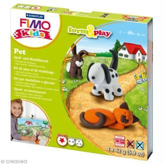 Kit pâte Fimo Kids - Animaux domestiques - niveau facile