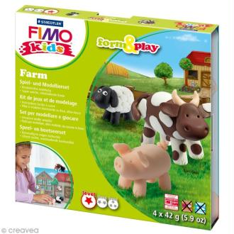 Kit Fimo Kids - Animaux de la ferme - niveau facile