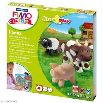 Kit pâte Fimo Kids - Animaux de la ferme - niveau facile