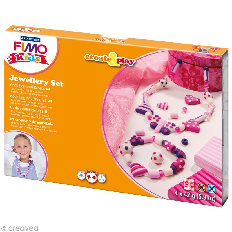 Kit Fimo Kids - Bijoux coeur - niveau moyen - Photo n°1