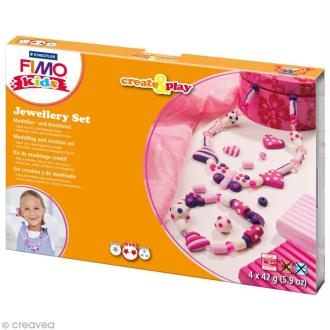 Kit pâte Fimo Kids - Bijoux coeur - niveau moyen