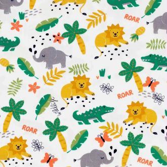 Tissu coton wildlife jungle - Multicolore- Par 50cm
