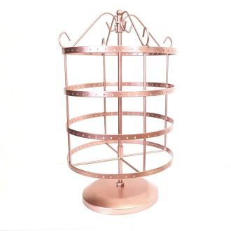 Porte bijoux tourniquet pour boucles d'oreilles carrousel (96 paires) Cuivre rose