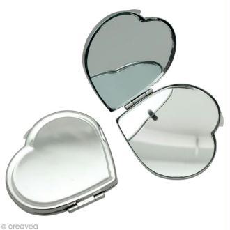 Miroir de poche Coeur en métal 5,5 x 6 cm à décorer