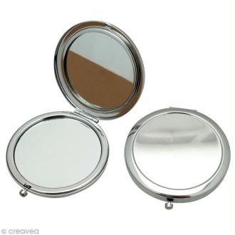 Miroir de poche en métal 7,7 cm à décorer