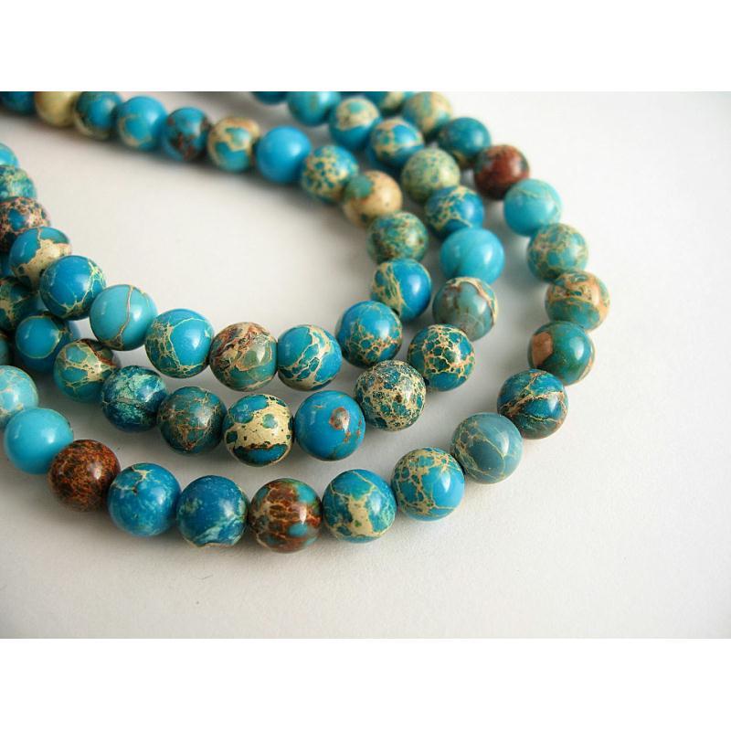 10 perles pierre de r galite bleu turquoise marbr 6mm perle pierre creavea. Black Bedroom Furniture Sets. Home Design Ideas