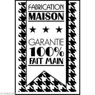Tampon en bois - Etiquette - Fabrication Maison - 6,3 x 4,5 cm