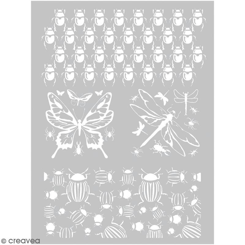 Pochoir pour impression de motifs sur pâte polymère - Insectes - 11,4 x 15,3 cm - Photo n°1