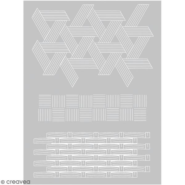 Pochoir pour impression de motifs sur pâte polymère - Vannerie - 11,4 x 15,3 cm - Photo n°1
