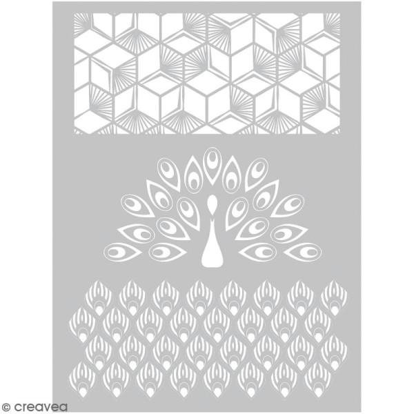 Pochoir pour impression de motifs sur pâte polymère - Paon - 11,4 x 15,3 cm - Photo n°1