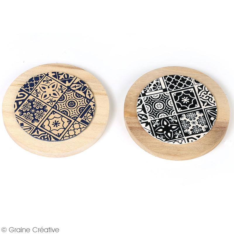 Pochoir pour impression de motifs sur pâte polymère - Azulejos - 11,4 x 15,3 cm - Photo n°2