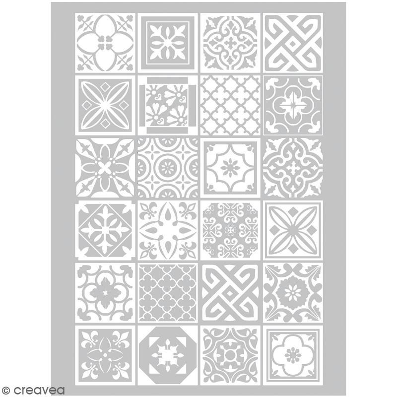 Pochoir pour impression de motifs sur pâte polymère - Azulejos - 11,4 x 15,3 cm - Photo n°1