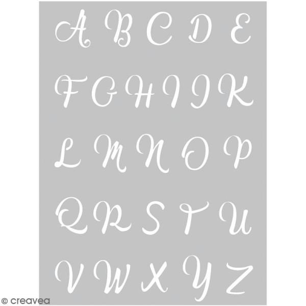 Pochoir pour impression de motifs sur pâte polymère - Alphabet calligraphie - 11,4 x 15,3 cm - Photo n°1