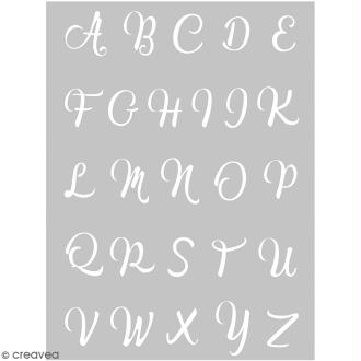 Pochoir pour impression de motifs sur pâte polymère - Alphabet calligraphie - 11,4 x 15,3 cm