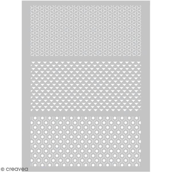 Pochoir pour impression de motifs sur pâte polymère - Graphique - 11,4 x 15,3 cm - Photo n°1
