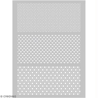 Pochoir pour impression de motifs sur pâte polymère - Graphique - 11,4 x 15,3 cm