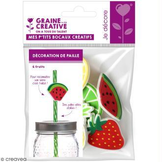 Décoration de pailles - Fruits - 6 pcs