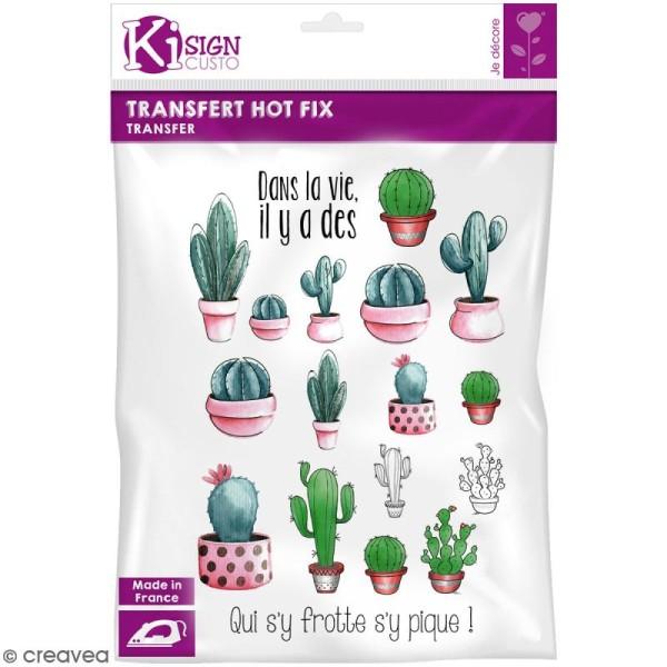 Motif transfert thermocollant A4 - Hot fix Cactus - Photo n°1