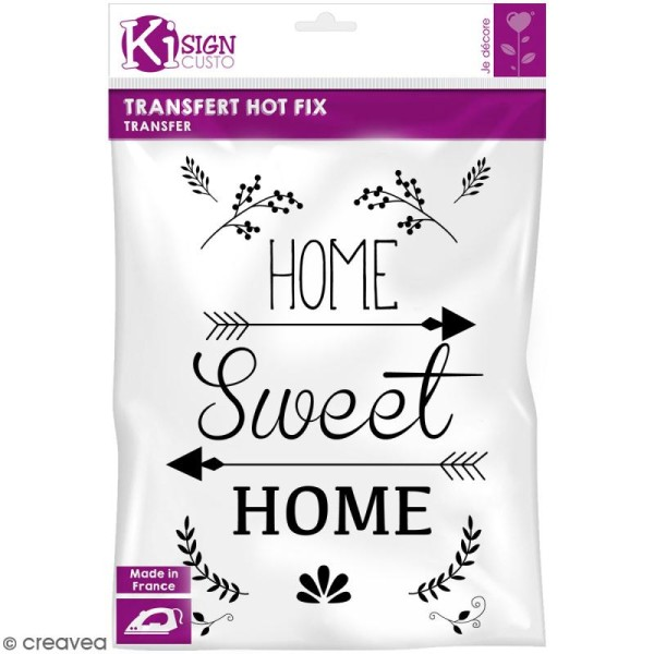 Motif transfert thermocollant A4 - Hot fix Home Sweet Home - Photo n°1