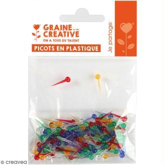 Clous en plastique multicolores pour String art - 15 mm - 100 pcs