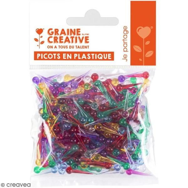 Clous en plastique multicolores pour String art - 15 mm - 500 pcs - Photo n°1