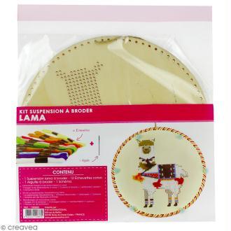 Kit suspension bois à broder - Lama - 22 cm