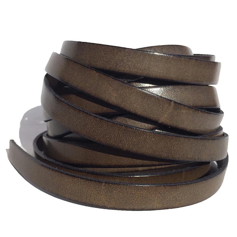 lani re de cuir plat 10 mm couleur kaki vendu par 1. Black Bedroom Furniture Sets. Home Design Ideas