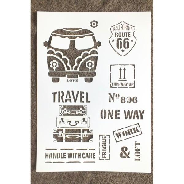 POCHOIR PLASTIQUE  Format A4 (21*29.7cm) motif vintage années 60/70 , US travel - Photo n°1