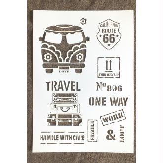 POCHOIR PLASTIQUE  Format A4 (21*29.7cm) motif vintage années 60/70 , US travel