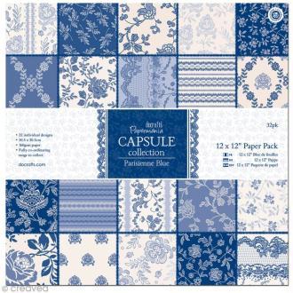 Papier scrapbooking Papermania - Parisienne blue 30,5 x 30,5 cm - 32 feuilles