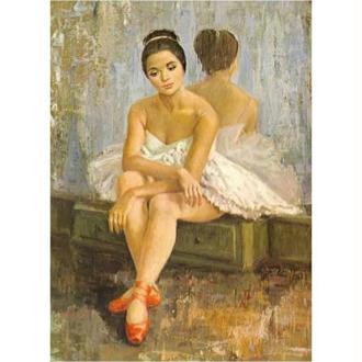 Image 3D Femme - Danseuse au chausson orange 20 x 28 cm