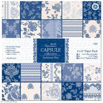 Papier scrapbooking Papermania - Parisienne blue 15,2 x 15,2 cm - 32 feuilles