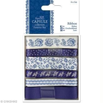 Ruban scrapbooking Papermania - Parisienne blue - 6 x 1 m