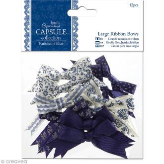 Noeud en ruban Papermania - Parisienne blue - 12 pièces