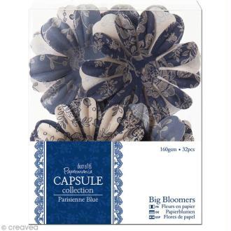 Fleur en papier Papermania - Parisienne blue - 32 pièces