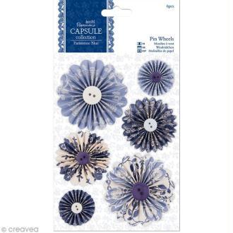 Cocarde en papier Papermania - Parisienne blue - 6 pièces