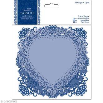 Napperon en dentelle de papier - Parisienne blue - 12 pièces