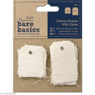 Forme en tissu - Bare basics - Mini et petites étiquettes x 6 pièces
