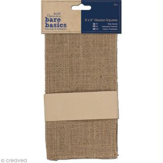 Coupon carré en toile de jute - Bare basics - 20,3 x 20,3 cm - 5 pièces