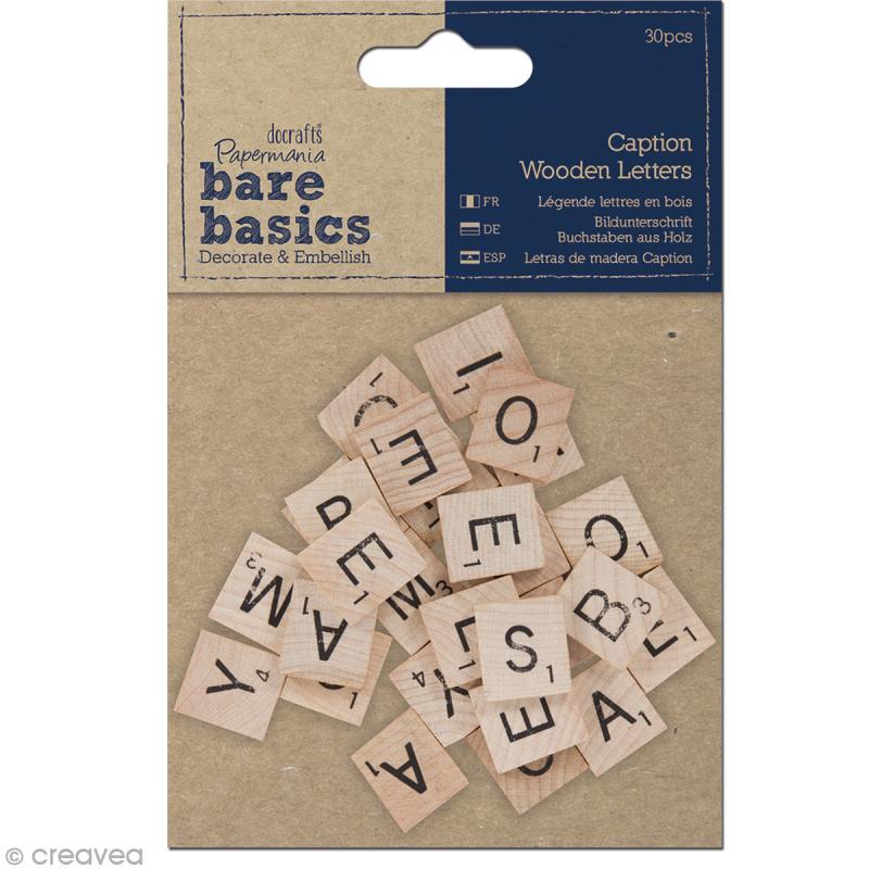 lettre en bois style scrabble bare basics 2 x 2 cm 30 pi ces alphabet a coller creavea. Black Bedroom Furniture Sets. Home Design Ideas
