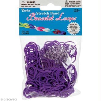 Recharge bracelet Loops 300 élastiques - Violet + 12 fermoirs