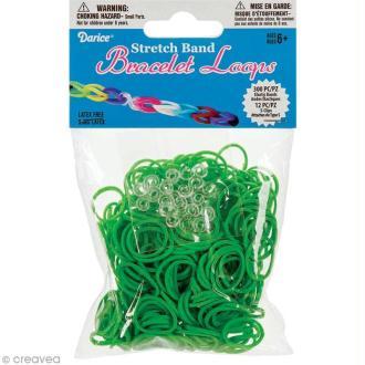 Recharge bracelet Loops 300 élastiques - Vert + 12 fermoirs