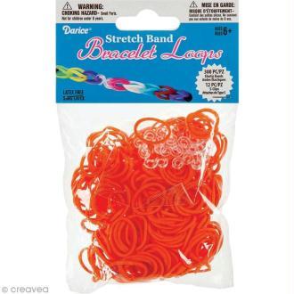 Recharge bracelet Loops 300 élastiques - Orange + 12 fermoirs