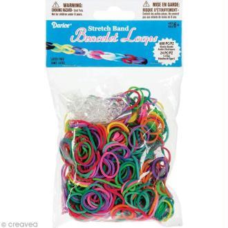 Recharge bracelet Loops 600 élastiques - Assortiment + 24 fermoirs