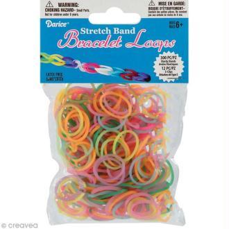 Recharge bracelet Loops 300 élastiques - Assortiment pastel phosphorescent + 12 fermoirs