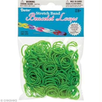 Recharge bracelet Loops 300 élastiques - Vert herbe + 12 fermoirs