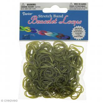 Recharge bracelet Loops 300 élastiques - Métallique vert olive + 12 fermoirs